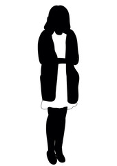 Silhouette of woman stand vector