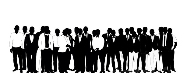 Collection of black and white business man silhouettes, crowd, vector, illustration