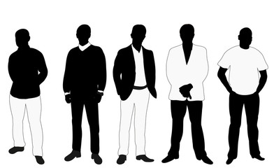 Collection of black and white business silhouettes man, vector, illustration