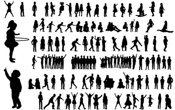 Collection of children silhouettes boys and girls