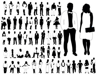 Collection of black and white silhouettes of men and women