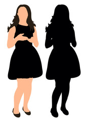 Silhouette girl vector illustration