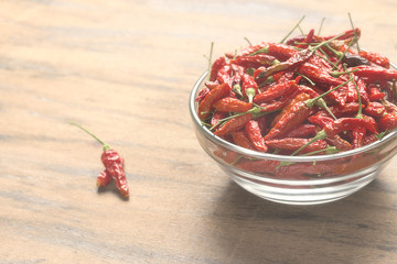 Red hot chili peppers in a glass bowl