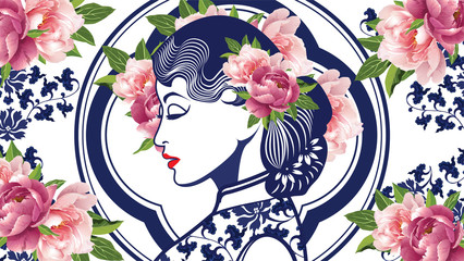 Vector Blue and White Chinese Lady in Retro Style with Peony Flower.