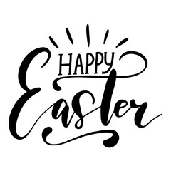 Easter holiday celebration. Happy Easter handwriting lettering design