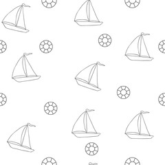 Seamless picture with a ship and a lifebuoy. A vector sea pattern