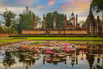 Wat Mahathat Temple in the precinct of Sukhothai Historical Park, a UNESCO world heritage site in Thailand