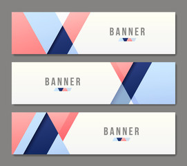 Set of abstract banner templates. Bright modern vector design.