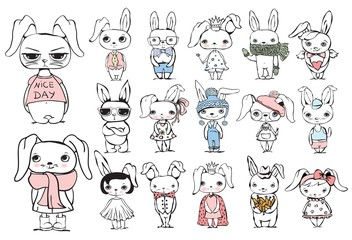 Vector set with stylish cute rabbits for greeting card design, t-shirt print, inspiration poster.