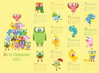 Bird calendar 2017. Cute owls and birds for every month. Vector. Isolated.