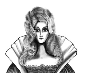 Stylish portrait of blonde queen drawn by pencil on the white background, isolated fashion illustration, high quality