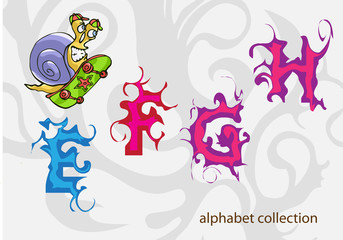 alphabet with Mr. Snail. vector illustration