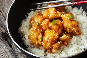 Honey Sesame Chicken served with Jasmin rice