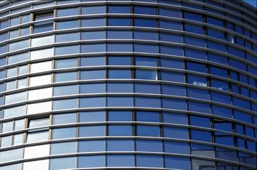 façade en verre bleu de bureaux