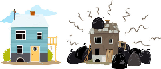 Smelly house buried under garbage bags creating problems for it's neighbors, EPS 8 vector illustration