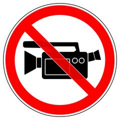 srr210 SignRoundRed - german - Verbotszeichen: Filmverbot - Videoaufnahmen verboten / english - prohibition sign - camera or video equipment is prohibited - xxl g5170