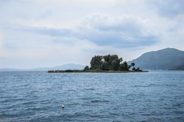 Mouse island on Corfu, Pontikonisi Island. Corfu, Greece