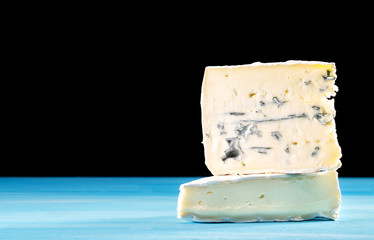 Cross-section of montagnolo affine cheese