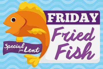 Special Fried Fish Menu for Friday in Lent Celebration, Vector Illustration