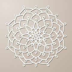 Vector Stencil lacy round ornament Mandala with carved openwork pattern. Template for interior design, layouts wedding invitations, gritting cards, envelopes, decorative art objects etc.