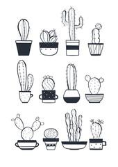 Cute cactus set, vector illustration