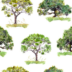 Green trees. Park, forest pattern. Seamless background. Water color