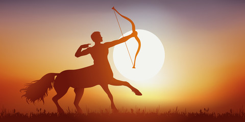 Centaure - mythologie - cheval - homme - imaginaire - fantastique - légendaire -  Coucher de soleil