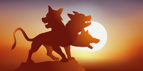 Cerbère - mythologie - chien - 3 têtes - imaginaire - fantastique - légendaire -  Coucher de soleil