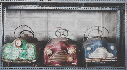 Old toy cars vintage background