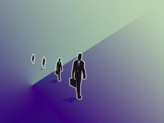 Uomini e Lavoro,grafica computerizzata immagine di uomini che si recano a lavoro