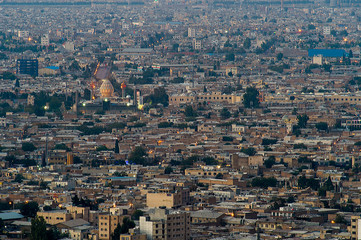 Night view aerial view of Shiraz, the capital of Fars Province one of major city of Iran