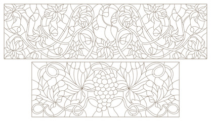 Set contour illustrations of stained glass with abstract swirls , grapes and flowers , horizontal orientation