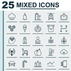 Set Of 25 Universal Editable Icons. Can Be Used For Web, Mobile And App Design. Includes Elements Such As Ladybird, Fruits, Lollipop And More.