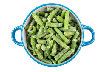 Frozen green beans in blue bowl isolated on white