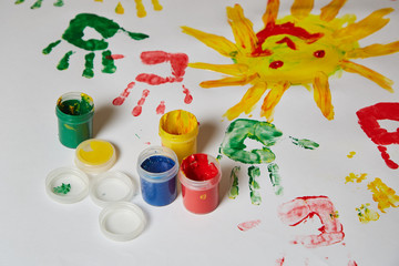 A child's drawing on the drawing paper finger paints