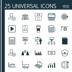 Set Of 25 Universal Editable Icons. Can Be Used For Web, Mobile And App Design. Includes Elements Such As Ornament Watch, Printed Document, Pilot Hat And More.