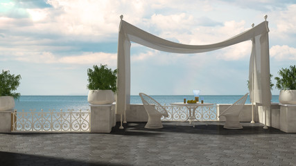 Empty classic terrace with canopy relax area, armchairs and table for breakfast, panoramic sea ocean