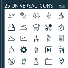 Set Of 25 Universal Editable Icons. Can Be Used For Web, Mobile And App Design. Includes Elements Such As Checked Pointer, Cereal, Armchair And More.