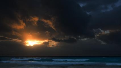 Caribbean sea shore at sunrise