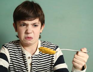 preteen boy refuse to eat pumpkin soup