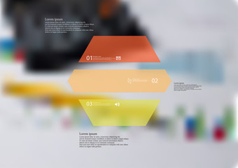 Illustration infographic template with hexagon horizontally divided to three color parts