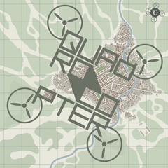 Vector illustration depicting a quadcopter above a city map