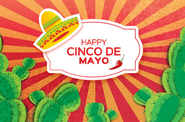 Happy Cinco de Mayo Greeting card. Origami Mexican sombrero hat, succulents and red chili pepper. Rectangle frame
