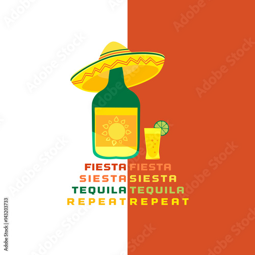 Mexican Poster Concept Freehand Drawn Flat Style Fiesta Siesta In