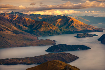 Beautiful sunrise landscape view from Roy's peak, Lake Wanaka, NZ