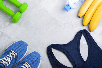 Flatlay composition with sport equipment outfit.