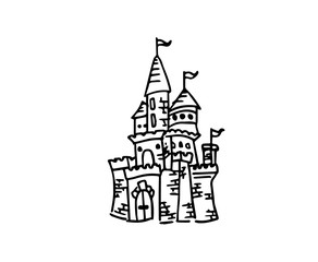 Castle sketch doodle isolated