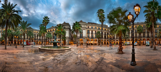 Self adhesive Wall Murals Barcelona Placa Reial in the Morning, Barcelona, Catalonia, Spain