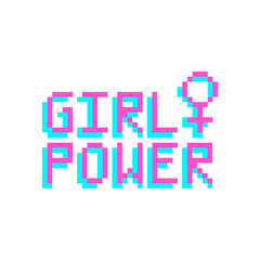 Girl power. The inscription with venus sign in the eight bit style on a white background. Vector Image. It can be used for website design, article, phone case, poster, t-shirt,etc.