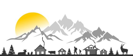 Silhouette Berge Hütten